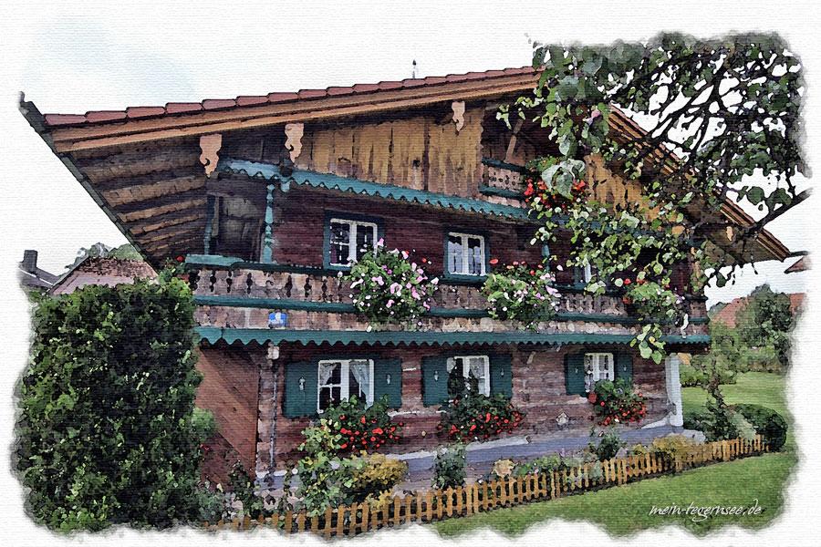 """Otterfing - Altes Bauernhaus """"Beim Heidkramerl"""" aus dem 17. Jahrhundert."""