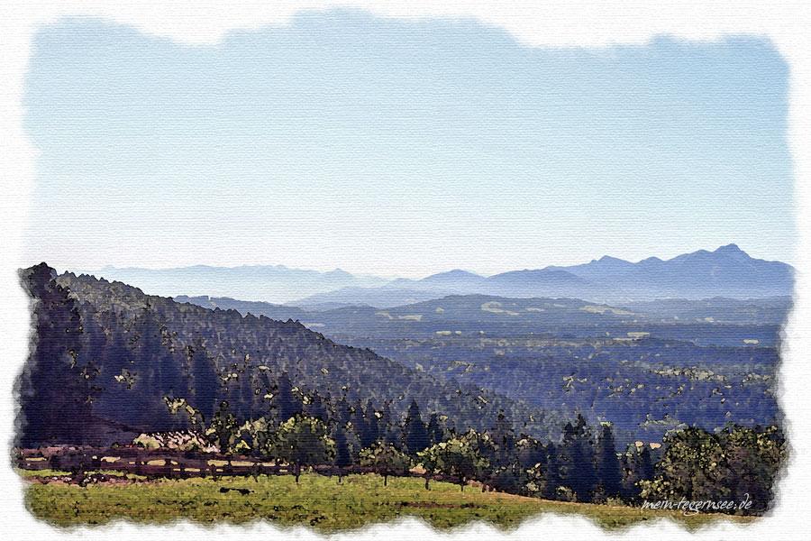 Blick vom Taubenberg Richtung Mangfallgebirge.