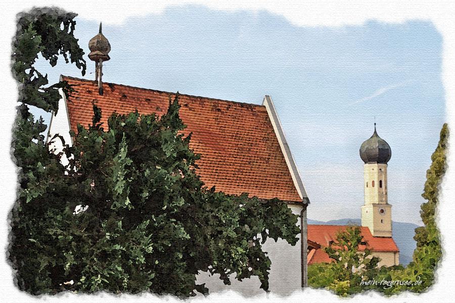 Blick auf die Katholische Pfarrkirche Sankt Martin in Waakirchen.