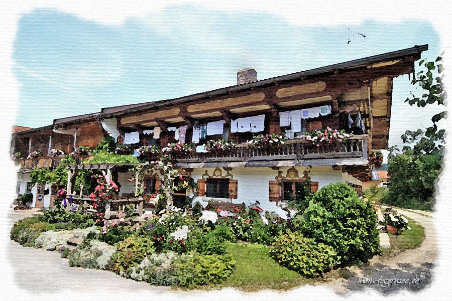 Impression bäuerliches Wohnhaus an der Sachsenkamer Straße in Piesenkam.