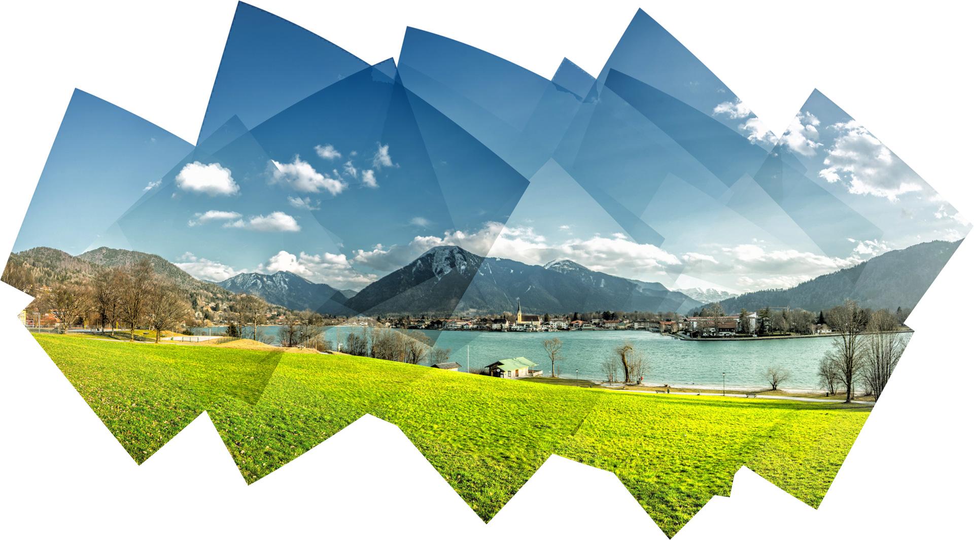 Panografie - Imposanter Blick von der Point in Tegernsee auf Rottach-Egern und den Wallberg